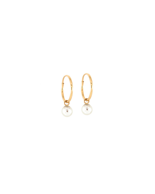 pair of endless hoop earrings with pearl detail