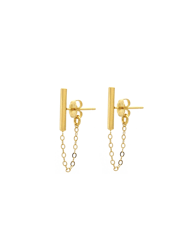 bar and chain connected stud earrings
