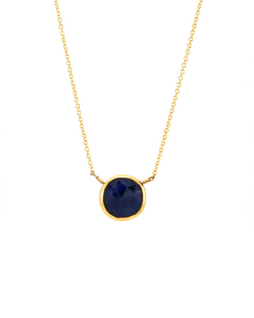 14k gold filled blue sapphire bezel necklace