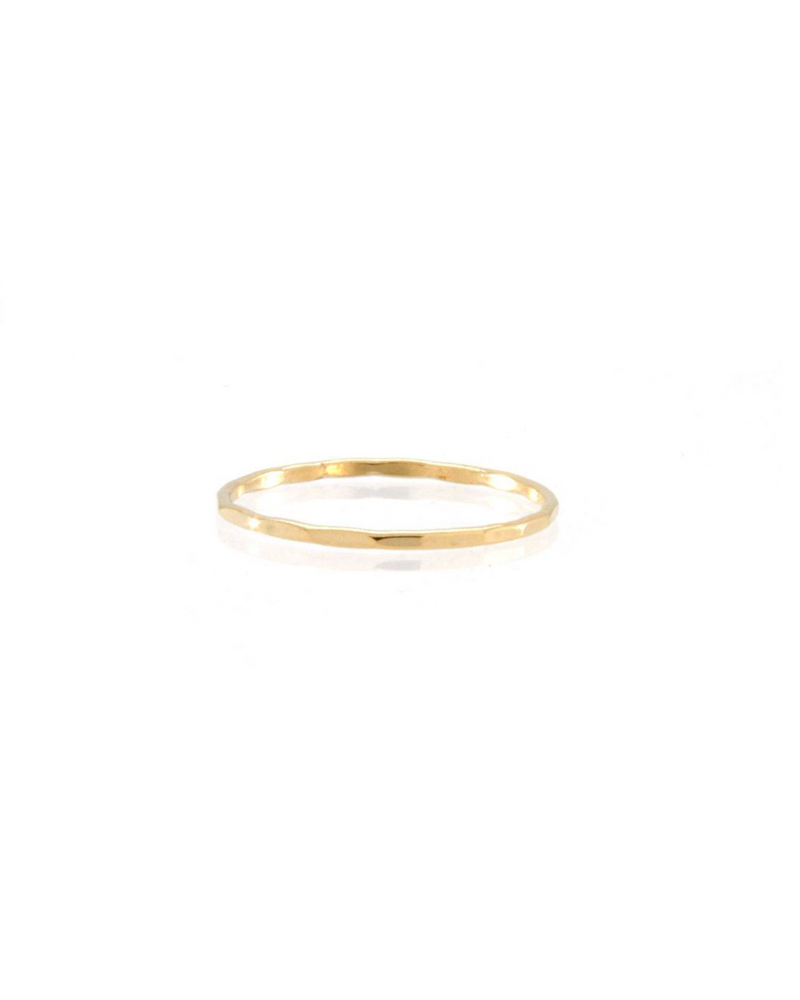 14k gold filled hammer textured thin ring