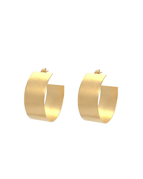 a pair of large half pipe gold hoops