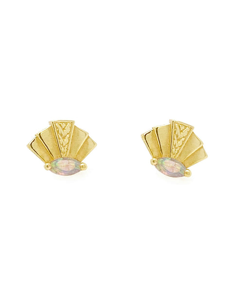 A pair of 14k Gold Fan Design stud Earring with Opal Marquise