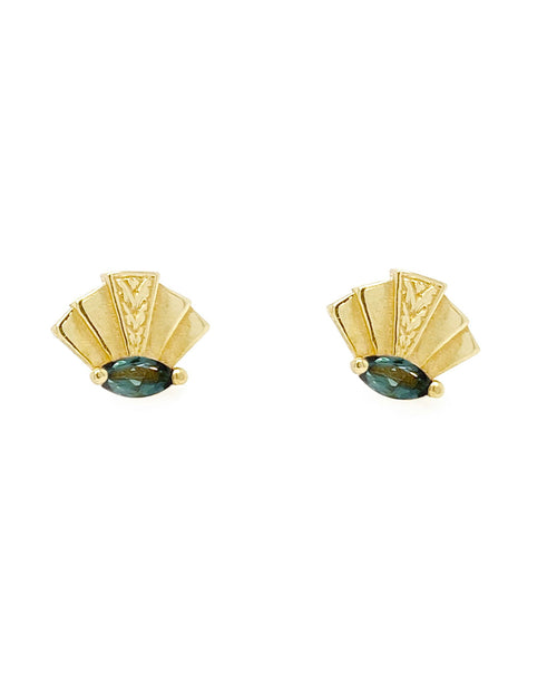 pair of  fan shaped 14k gold tourmaline stud earrings that has tourmaline marquise