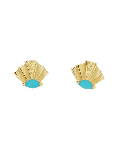 pair of 14k gold fan shaped stud earrings with turquoise marquise