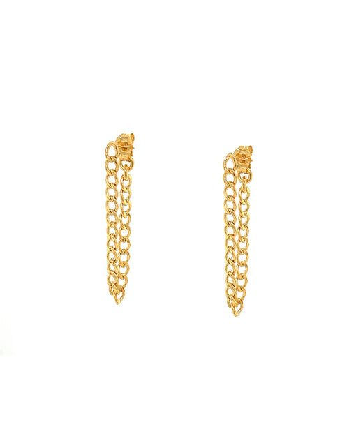a pair of gold thin cuban link chain earrings