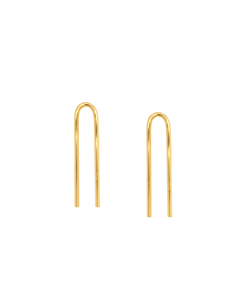 "a pair of upside down ""U"" shaped paper clip design earrings with texture on bottom ends"