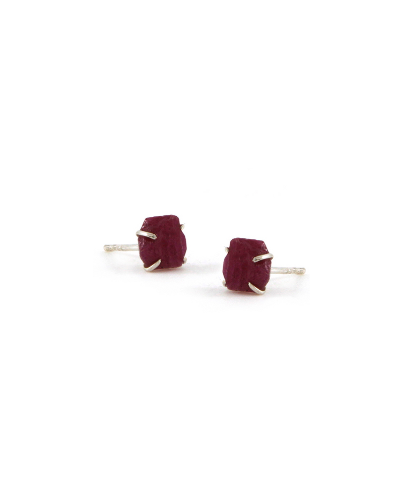 Ruby Raw Stone Earrings