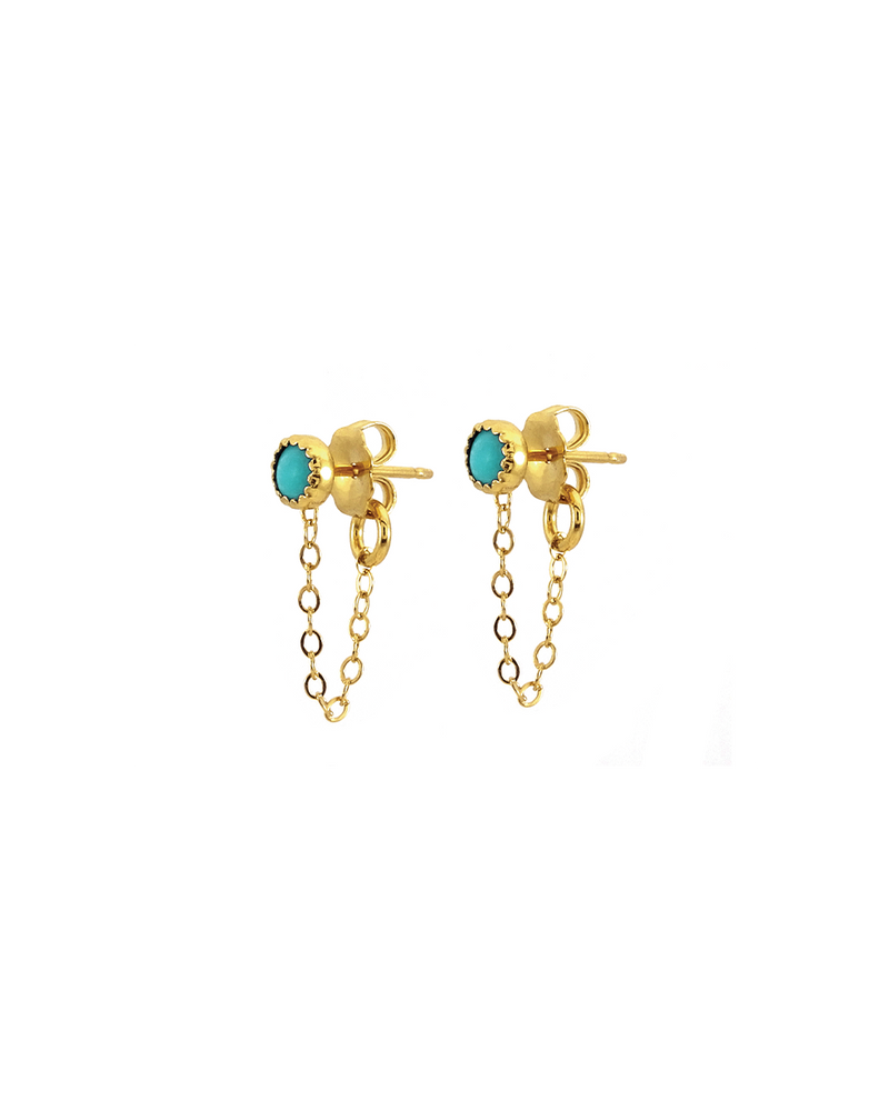 Turquoise Stud Earrings with Chain
