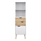 Bookcase 2 Drawers 1 Door in White and Oak - FTG - Bookcases - 7047538249ak - 5