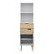 Bookcase 2 Drawers 1 Door in White and Oak - FTG - Bookcases - 7047538249ak - 6