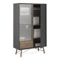 Cabinet 1 Door + 1 Glass Door + 1 Drawer - FTG - Cabinets - 72186008gmdj - 3