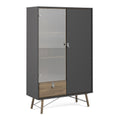 Cabinet 1 Door + 1 Glass Door + 1 Drawer - FTG - Cabinets - 72186008gmdj - 5