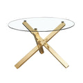 Capri Dining Table Glass top with Gold Legs - Lenora - Dining Tables - CAPRITAB - 1