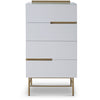 Gillmore Space | Alberto Four Drawer Narrow Chest | White with Brass Accent - Gillmore Space - Chest of Drawers - 119-232 - 1