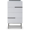 Gillmore Space | Alberto Four Drawer Narrow Chest | White with Dark Chrome Accent - Gillmore Space - Chest of Drawers - 119-234 - 1