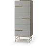 Gillmore Space | Alberto Six Drawer Tall Narrow Chest | Grey with Brass Accent - Gillmore Space - Chest of Drawers - 119-237 - 1