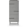 Gillmore Space | Alberto Six Drawer Tall Narrow Chest | Grey with Dark Chrome Accent - Gillmore Space - Chest of Drawers - 119-239 - 1