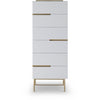Gillmore Space | Alberto Six Drawer Tall Narrow Chest | White with Brass Accent - Gillmore Space - Chest of Drawers - 119-236 - 1