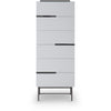 Gillmore Space | Alberto Six Drawer Tall Narrow Chest | White with Dark Chrome Accent - Gillmore Space - Chest of Drawers - 119-238 - 1