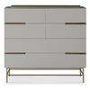 Gillmore Space | Alberto Six Drawer Wide Chest | Grey with Brass Accent - Gillmore Space - Chest of Drawers - 119-225 - 1