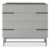Gillmore Space | Alberto Six Drawer Wide Chest | Grey with Dark Chrome Accent - Gillmore Space - Chest of Drawers - 119-227 - 1