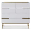 Gillmore Space | Alberto Six Drawer Wide Chest | White with Brass Accent - Gillmore Space - Chest of Drawers - 119-224 - 1
