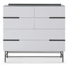 Gillmore Space | Alberto Six Drawer Wide Chest | White with Dark Chrome Accent - Gillmore Space - Chest of Drawers - 119-226 - 1