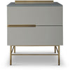 Gillmore Space | Alberto Two Drawer Narrow Chest | Grey with Brass Accent - Gillmore Space - Chest of Drawers - 119-229 - 1