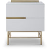 Gillmore Space | Alberto Two Drawer Narrow Chest | White with Brass Accent - Gillmore Space - Chest of Drawers - 119-228 - 1