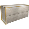 Gillmore Space | Federico | Bedside Storage Chest with Two Drawers | Weathered Oak with Brass Frame - Gillmore Space - Bedside - 118-587 - 1