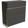 Gillmore Space | Federico | Chest of 4 Drawers | Black Stained Oak with Brass Frame - Gillmore Space - Chest of Drawers - 118-590 - 1