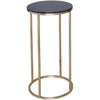 Gillmore Space Kensal Circular Lamp Stand | Black Glass with Brass Base - Gillmore Space - Lamp Table - 714-218 - 1