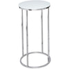 Gillmore Space Kensal Circular Lamp Stand | White Glass with Polished Base - Gillmore Space - Lamp Table - 714-213 - 1