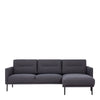 Larvik Chaiselongue Sofa (rh) - Antracit Black Legs - FTG - Sofas - 60340380 - 1