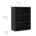Prima - Prima Bookcase 2 Shelves in Black Woodgrain - FTG - Bookcases - 7208042361 - 10