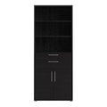 Prima - Prima Bookcase 5 Shelves with 2 Drawers and 2 Doors in Black Woodgrain - FTG - Bookcases - 720804212561 - 3