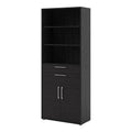 Prima - Prima Bookcase 5 Shelves with 2 Drawers and 2 Doors in Black Woodgrain - FTG - Bookcases - 720804212561 - 4