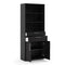 Prima - Prima Bookcase 5 Shelves with 2 Drawers and 2 Doors in Black Woodgrain - FTG - Bookcases - 720804212561 - 2