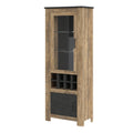 Rapallo - Rapallo 2 Door Display Cabinet with Wine Rack in Chestnut and Matera Grey - FTG - Cabinets - 4420142 - 1