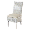 Full reed koboo rattan dining chair in a white colourwash, complete with cushion, leather handle detailing and whitewash l...