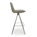 Shankar City Grey Antiqued Leather Match Skypod Scoop Seat Bar Chair - Shankar - Bar Stools - 033-16-01-12-02 - 3