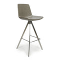 Shankar City Grey Antiqued Leather Match Skypod Scoop Seat Bar Chair - Shankar - Bar Stools - 033-16-01-12-02 - 1