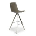 Shankar City Grey Antiqued Leather Match Skypod Scoop Seat Bar Chair - Shankar - Bar Stools - 033-16-01-12-02 - 2