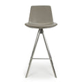 Shankar City Grey Antiqued Leather Match Skypod Scoop Seat Bar Chair - Shankar - Bar Stools - 033-16-01-12-02 - 4