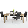 Shetland - Dining Set Package Shetland Extending Dining Table + 4 Milan High back Chair Black. - FTG - Dining Sets - 4197661420 - 2