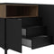 Sideboard 3 Drawers 3 Doors in Black and Walnut - FTG - Sideboards - 7169217886DJ - 7
