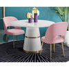 White & Gold High Gloss Dining Table with Brass Inlay Base - Eco Furnishings - Dining - LDT-2133-ROYA - 1