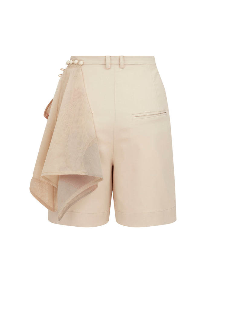 Shorts with Scarf in Beige