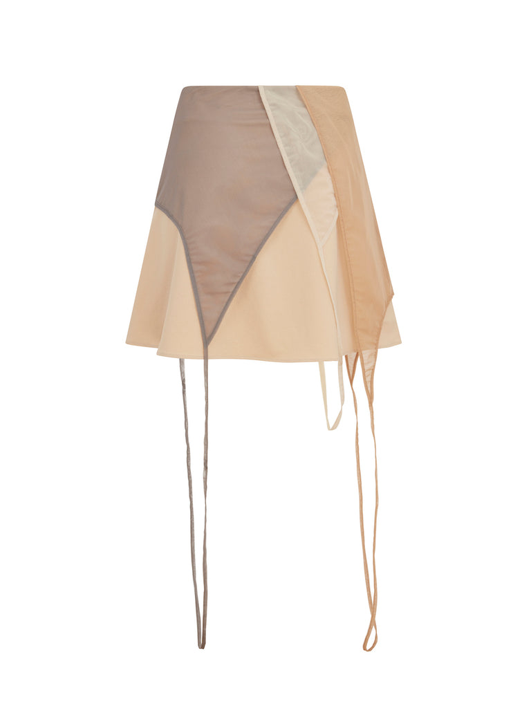 Deconstructed Mini Skirt in Beige