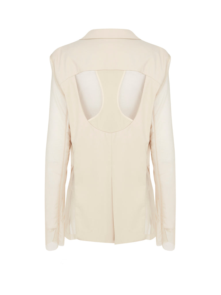 Deconstructed Blazer with Detachable Sleeves in Beige